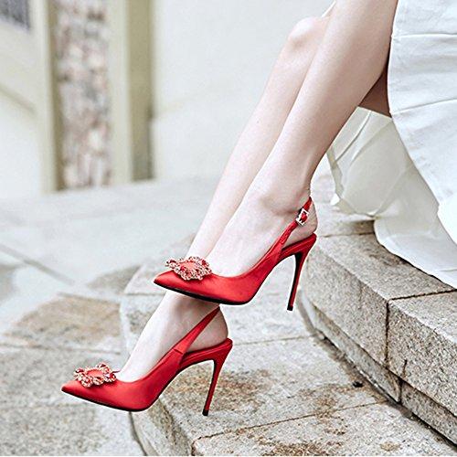 Vrouwen Zijden Dunne Hak Pompen Hoge Hakken Wees Teen Kleding Vierkante Gesp Strass Sandalen Pumps Voor Bruiloft Werk Dating Nachtclubs Dansen Rood-10cm