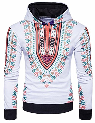 FLCH+YIGE Men's Africa Dashiki Print Hoodies Long Sleeve Fashion Sweatshirt 1 M by FLCH+YIGE