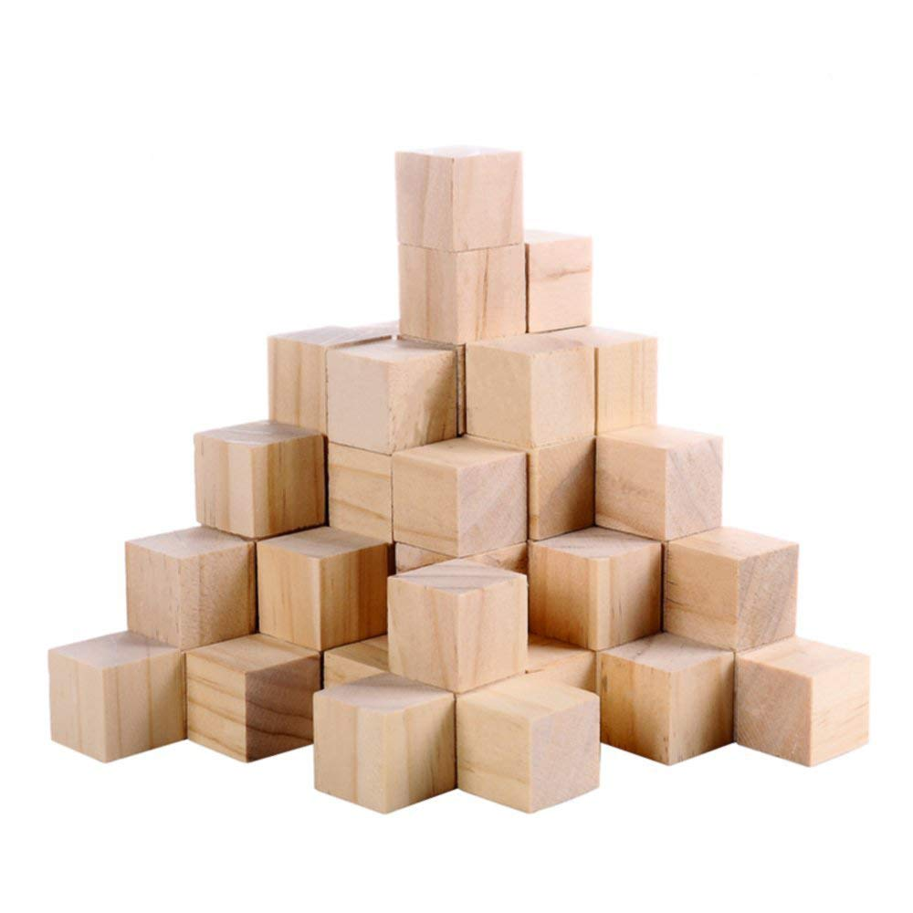 Supla 60pcs 1 Inch Natural Unfinished Craft Solid Wood Blocks Wood Cubes For Diy Craft Gifts 60pcs