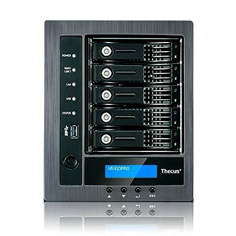 Thecus N5810PRO - Unidad RAID (J1900, DDR3, SATA, 0, 1, 5, 6, 10, JBOD, Integrado, BTRFS, ext3, ext4, XFS)