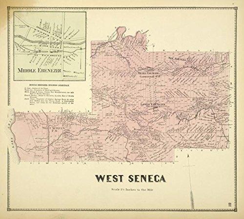 Historic 1866 Map   Middle Ebenezer [Village]; Middle Ebenezer Business Directory; W   Antique Vintage Map Reproduction