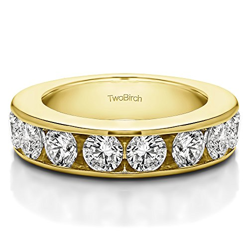 0.1Ct 10 Stone Open Ended Channel Set Wedding ring 18k Yellow Gold White Sapphire(Size 3 to 15 1/4 Sizes)