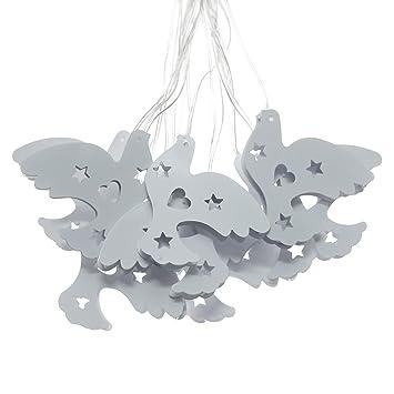 Juego de 10 marroqui luces LED Linternas solares cadena paloma blanco para al aire libre,