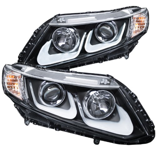 (AnzoUSA 121479 Black/Clear/Amber Bar Style Projector Headlight for Honda Civic)