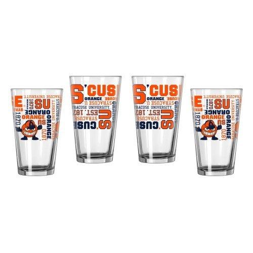 NCAA Syracuse - Spirit Pint Glasses (4) | Syracuse Orange 16 oz. Mixing Glasses - Set of 4 by Boelter Brands