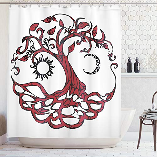 Ambesonne Tree of Life Decor Collection, Tree of Life with Sun and Half Moon Hanging as Fruits Fairytale Medallion Shape Image, Polyester Fabric Bathroom Shower Curtain, 75 Inches Long, Burgundy