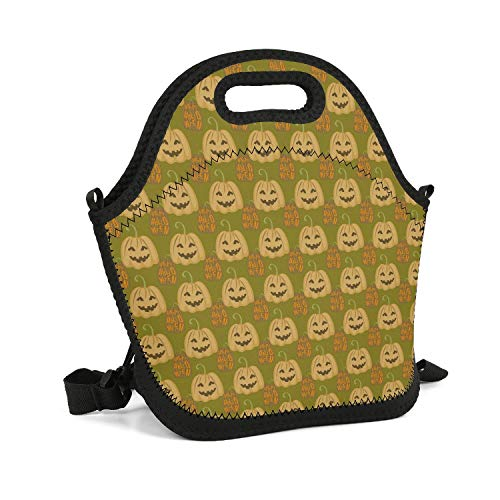Cool Lunch Box Halloween Pumpkin Silhouettes Green Insulated Resuable Thermal Durable Leakproof Recycled Fit-Fresh Outdoor Gym Cooler