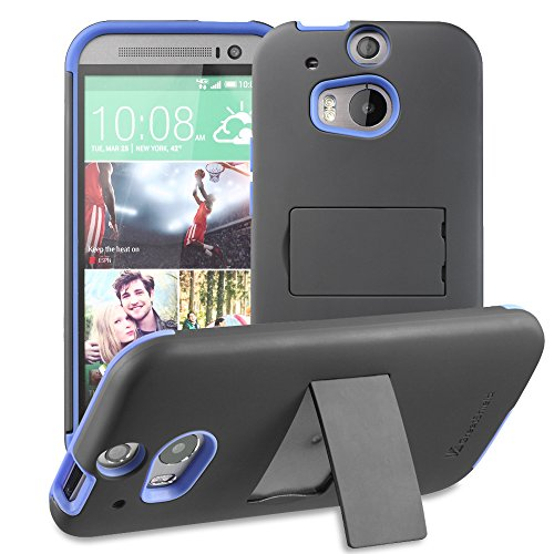 GreatShield Legacy Dual Layer Shock Absorption Heavy Duty Hybrid Case with Kickstand and Premium Screen Protector for HTC One - Black/Blue