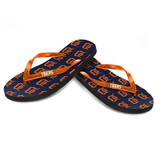Tigers Flip Flop Sandals - Detroit Tigers 2016 Womens Glitter Logo Flip Flop
