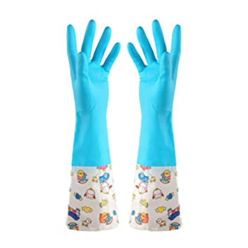 Shouhengda Household Kitchen Cleaning Rubber Gloves Non-Slip Dishwashing Laundry House Cleaning Gloves for Women 1 Pair