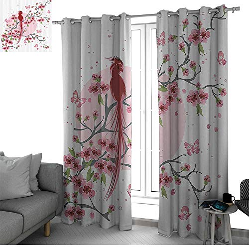 bybyhome Japanese Decor Thermal Insulated Blackout Curtains Mythical Legendary Long Lived Phoenix Bird on The Floral Sakura Branch Looking Back Artwork Room Decor for Boys Pink W96 x L108 Inch
