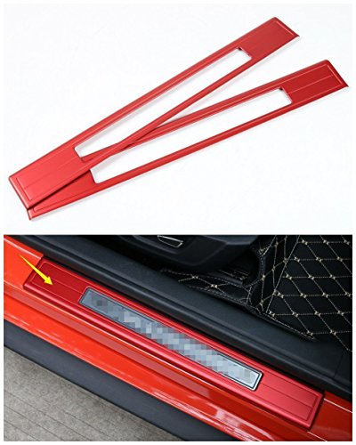 Mustang Sill Plates (Aluminum Car Door Sill Guard Plate Trim for Ford mustang 2015-2017 2pcs Red)