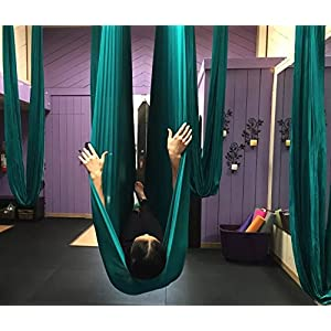 Aerial Yoga Hammock 5.5 Yards Premium Aerial Silk Fabric Yoga Swing for Antigravity Yoga Inversion Include Daisy Chain,Carabiner and Pose Guide