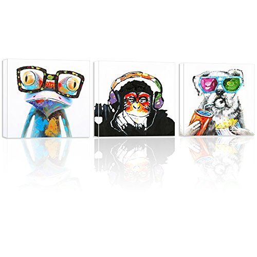 """Visual Art Decor XXLarge Animals Canvas Wall Art,Picture Prints,Modern Gorilla Monkey Music Painting Image Printed on Canvas Happy Dog Frog Painting Prints Home Decor Animal Prints (32""""x32""""x3)"""