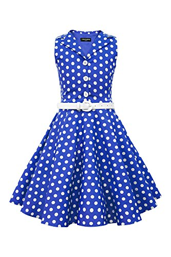 BlackButterfly Kids 'Holly' Vintage Polka Dot 50's Girls Dress (Royal Blue, 11-12 YRS)]()