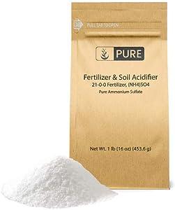Pure Ammonium Sulfate (1 lb.), Eco-Friendly Packaging, Fertilizer & Soil Acidifier, Highest Quality, NO Iron OR Aluminum (Also in 8 oz, 2 lb, 5 lb, & 25 lb)