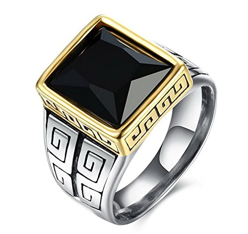 PSRINGS Stainless Steel Square Black Cubic Zirconia Pave Signet Ring Great Wall Pattern Solid Ring - Mall Emerald Square Black Friday