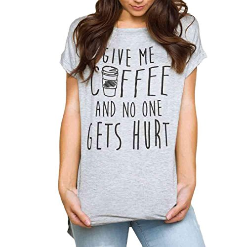 Kshion Women GIVE ME COFFEE Pullover T-Shirt Letter Print Short Sleeve Casual