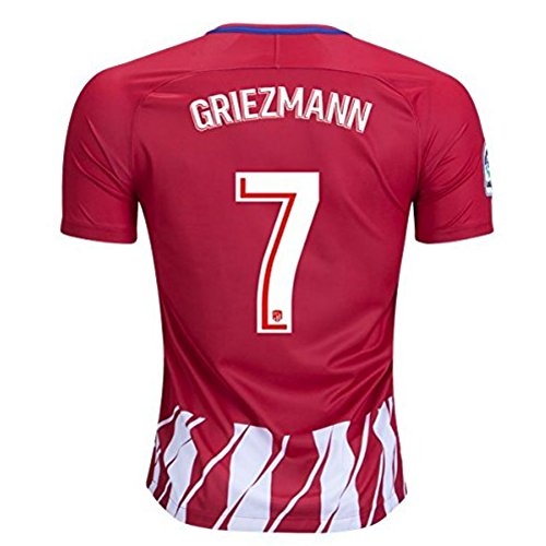 fan products of tehaew youthjs Atletico Madrid #7 Griezmann Home Men Soccer Jersey 2017-2018 Red/White Size L