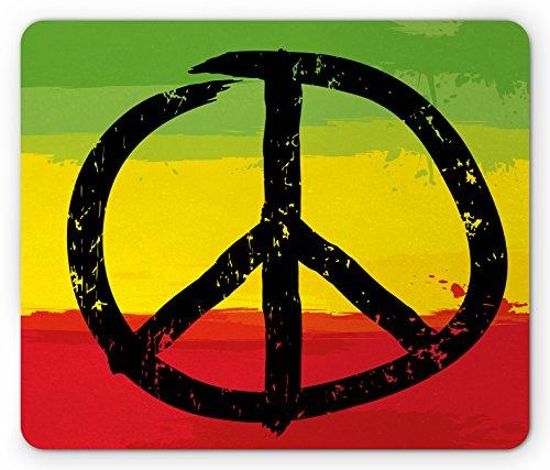 Rasta Alfombrilla de mouse por ambesonne, Grunge Estilo Acuarela diseño bandera africana colores Hippie símbolo de la paz,...