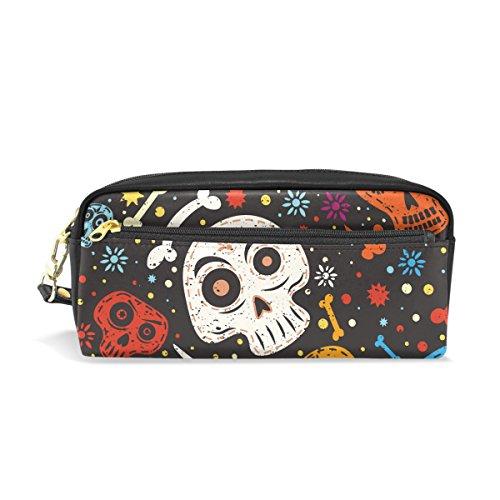 Sugar Skull Dia De Los Muertos PU Leather Pencil Case Portable Pen Organizer Pouch Stationary Case Makeup Cosmetic Bag