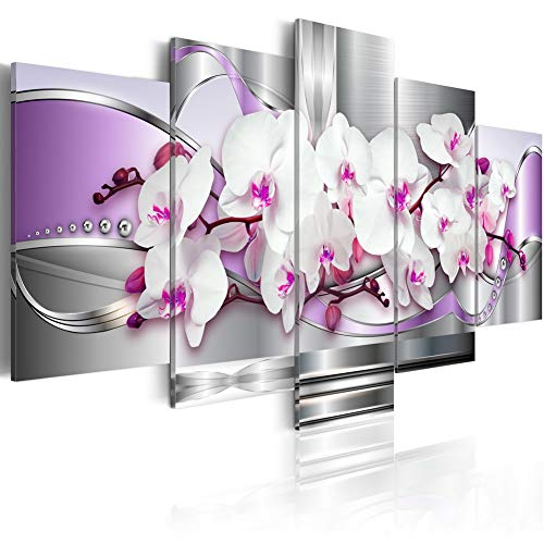 Orchid and Fantasy White Floral Painting on Canvas Art 5 Panels Modern Abstract Purple Wall Decor Print Artwork for Living Room