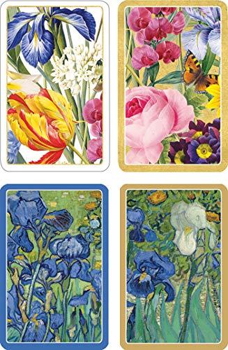 Caspari Entertaining Bundle of 2 Double Decks of Bridge Playing Cards, Jumbo Type (Redoute Floral & Van Gogh Irises)