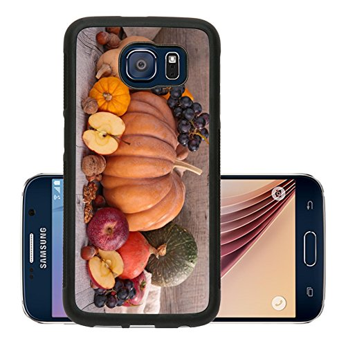 Luxlady Premium Samsung Galaxy S6 Aluminum Backplate Bumper Snap Case IMAGE ID 31542524 decorative pumpkins and fruits on wood background