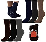 Gilbin Women Super Soft Toasty Fuzzy Anti-Skid Winter Slipper Socks 6 Pack,Dark Colors,9-11
