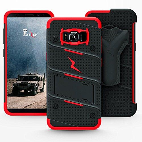 Samsung Galaxy S8 Case, Zizo [Bolt Series] w/ [Galaxy S8 Screen Protector] Kickstand [12 ft