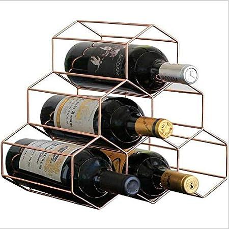 HJXSXHZ366 Estantería de Vino 6 Botellas de Estante del Vino Rojo metálico, autoportante Vino de Mesa Rack de Almacenamiento Celular Estante de Vino pequeño