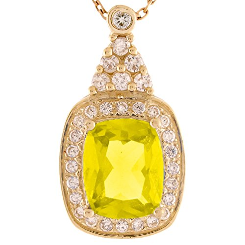 14k Gold White CZ Simulated Yellow Topaz November Birthstone Fancy Slide Pendant