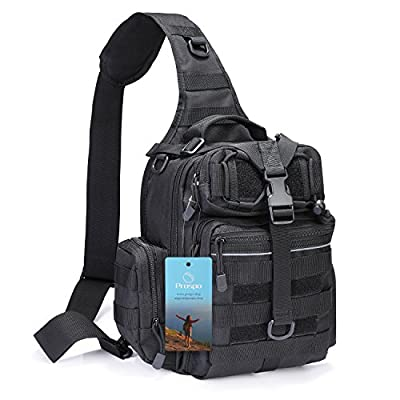 Prospo Large Tactical Sling Backpack Molle Military Range Bag EDC One Strap Shoulder Daypack Chest Crossbody Men Women Pack, Lightweight Triangle Backpack for Camping Hiking Trekking
