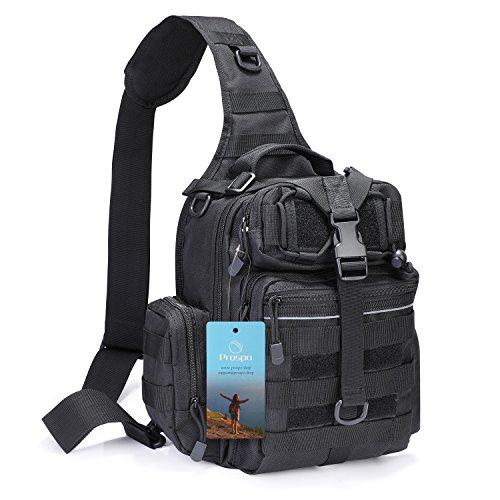 Prospo Tactical Sling Backpack Military Small Development Bag Molle Rover Chest Shoulder Pack Range EDC One Strap Daypack Hiking Camping Treking(Black)]()