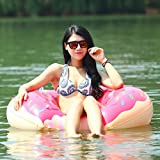 Sealive Strawberry Donut Pool Floats Inflatable Swim Ring Spring Summer Water Toys Swimming Floats with a free air pump,Different Sizes For Kids Children Adult,For Famliy Funny Beach Water Time (L)