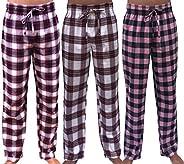 GIVEITPRO 3 Pack - Women Flannel Pajama Pant Pajama Bottoms-100% Cotton Yarn-dye Woven