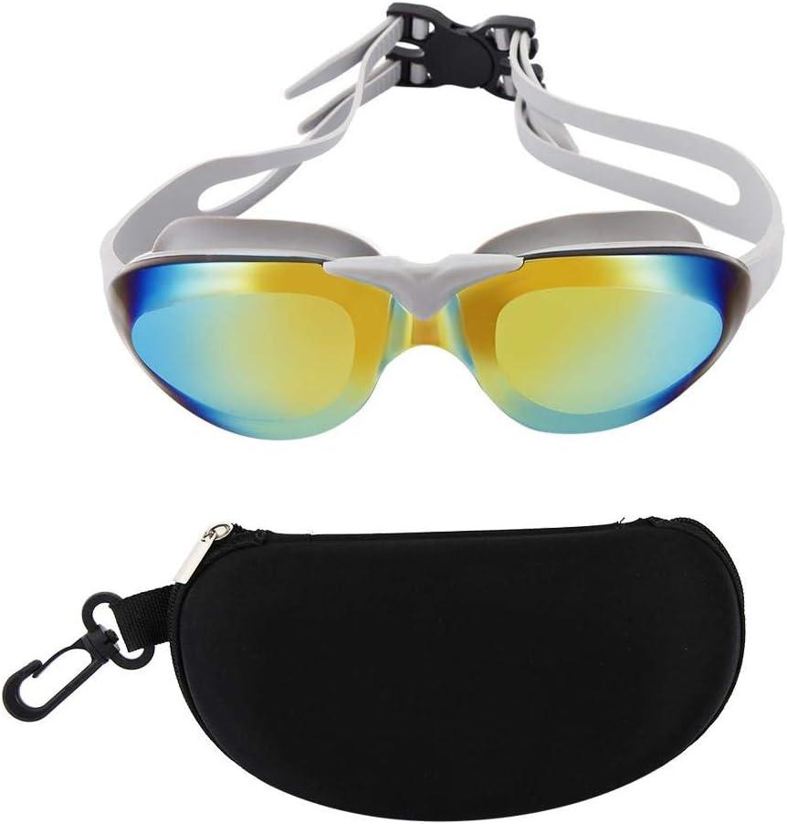 Alomejor Gafas de natación Antifogging Recubrimiento Color Cinturón de Lentes Ajustable con Gel de sílice Mascarilla para Ojos Clips y Tapones para los oídos a Prueba de Fugas para Adultos