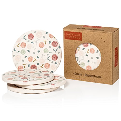 Set of 4 Ceramic Coasters   4 inches in diameter   Water Absorbent!   Cork Bottom   Add Style to Your Dining Room or Living Room!   Cream Flowers ()