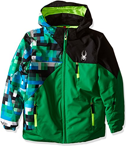 [Spyder Boys Mini Ambush Jacket, Size 4, Jungle/Pixel Electric Blue Print/Black] (Pixel Gloves)