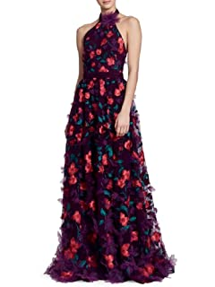 adda3e30 Marchesa Notte Women's Sleeveless Feather Embroidered Gown 2 Black ...