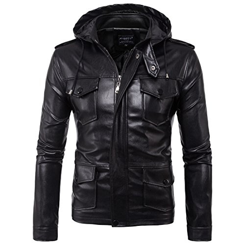 Oops Style Men Casual Stand Collar Mutil Pockets Black Motorcycle Leather Jacket with hood (Leather Down Jacket)