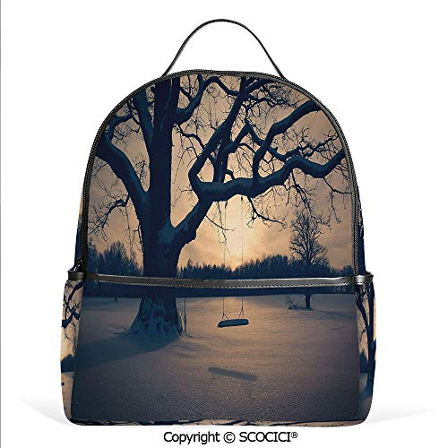 - Casual Fashion Backpack Majestic Tree in the Garden with A Swing Nostalgic Dramatic Winter Scenery Decorative,Tan Blue Grey,Mini Daypack for Women & Girls