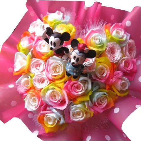 ミッキー ミニー入り 花 レインボーローズ プリザーブドフラワー入り ハート フラワーギフト ケース付き 20×30 B078LZ9XLX
