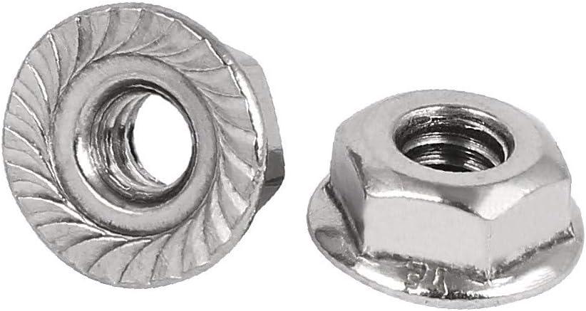 5e99c9ff-a222-11e9-8d7c-4cedfbbbda4e X-DREE 10#-24 304 Stainless Steel Serrated Flange Hex Machine Screw Lock Nuts 20pcs