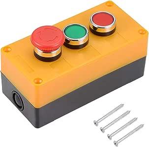 sourcing map Empuje Botón Interruptor Caja Momentánea Rojo Verde Interruptores y Emergencia Parada: Amazon.es: Bricolaje y herramientas