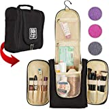 Premium Travel Toiletry Bag for Women and Men | Hanging Toiletry & Hygiene Bag | Cosmetic Bathroom and Shower Travel Bag | Large Organizer with Cosmetics & Brush Holder | Great as a GlFT (Black)