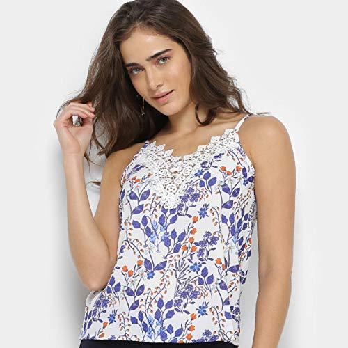 Blusa Lemise Alcinha Estampada Feminina - Azul - M