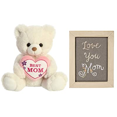 Mother's Day Bundle, 10 Inch Cream Plush Bear and Love You Mom Embroidered Sign: Home & Kitchen