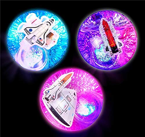 Water Space - DollarItemDirect 2.35 inches Light-Up Space Glitter Water Bounce Ball, Case of 48