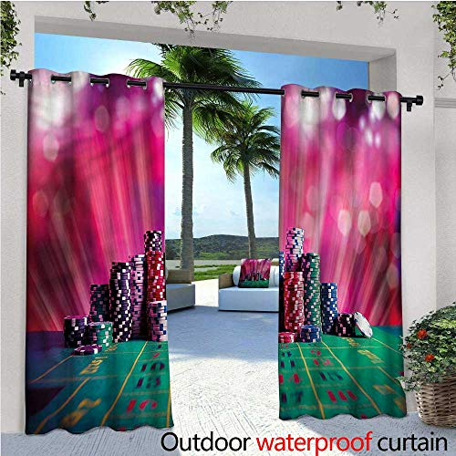 rnament Outdoor Privacy Curtain for Pergola Winner Luck Chips Thermal Insulated Water Repellent Drape for Balcony W108 x L108 ()